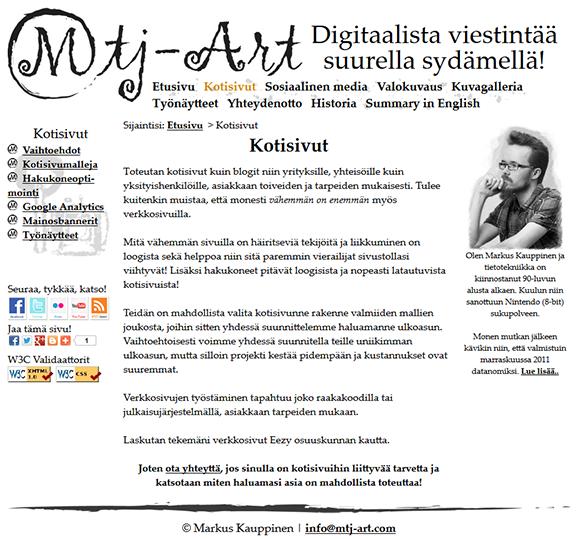 Mtj-Art.com sivuston taitto. Taittaja: Markus Kauppinen