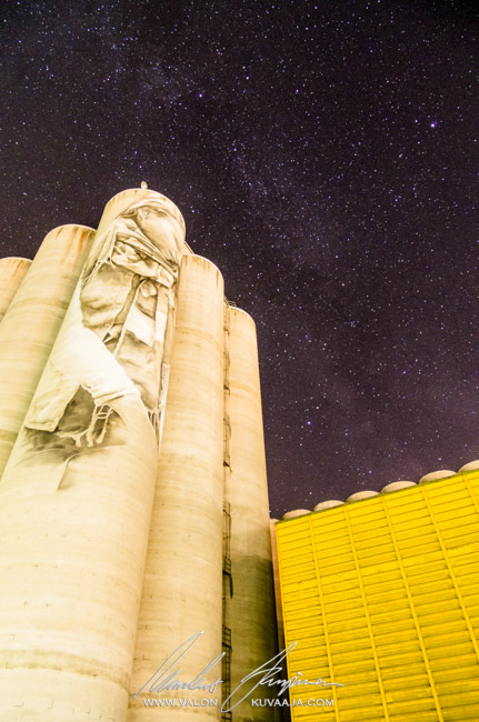 Guido van Helten's mural and milky way. Photographer: Markus Kauppinen