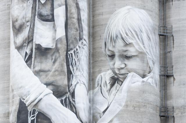 Guido van Helten's mural Kantola Hameenlinna, Finland. Photographer: Markus Kauppinen